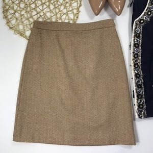 J. Crew | Tan Wool Blend Gold Metallic Knit Skirt